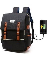 'Elegante Unisex Mochila con USB charging Conector, Multi Función Vintage Canvas Backpack para 15 portátil, nailon resistente al agua daypacks Basil Mujer Hombre para Outdoor Senderismo Viajes Camping, negro
