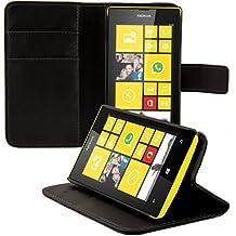 kwmobile Funda para Nokia Lumia 520 - Wallet Case plegable de cuero sintético - Cover con tapa tarjetero y soporte en negro