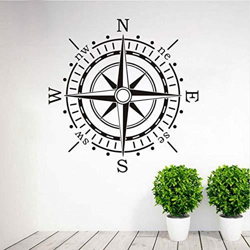 Jixiaosheng Wandaufkleber Kompass Wandkunst Vinyl Aufkleber Aufkleber Ocean Navigation Removable Home Decor Wohnzimmer Wandaufkleber