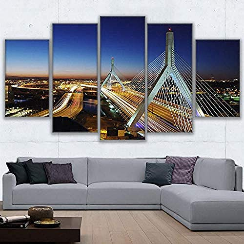 FSKJWLH Moderno Arte de la Pared Lienzo HD Prints Pintura Cartel Modular 5 Boston City Flow Bridge Nightscape Decoración para el hogar Fotos-Sin Marco @ 30x40_30x60_30x80cm-sin Marco