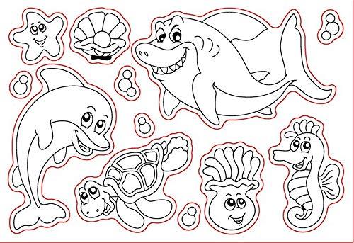Sea Friend Ocean Animals Hai, Delfin, Stern, Fisch, Schildkröte Stempel, Gummi, Transparenter Stempel, Scrapbook/Foto, Dekorative Karten