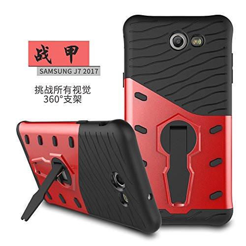 YHUISEN Galaxy J7 2017 Case, Hybrid Tough Rugged Dual Layer Rüstung Schild Schützende Shockproof mit 360 Grad Einstellung Kickstand Case Cover für Samsung Galaxy J7 2017 ( Color : Biue ) Red
