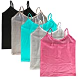 Elk Women's Cotton Camisole Slip Adjustable Strap Spaghetti Top Innerwear Blue Red Green Skin and Black Color Pack of 5