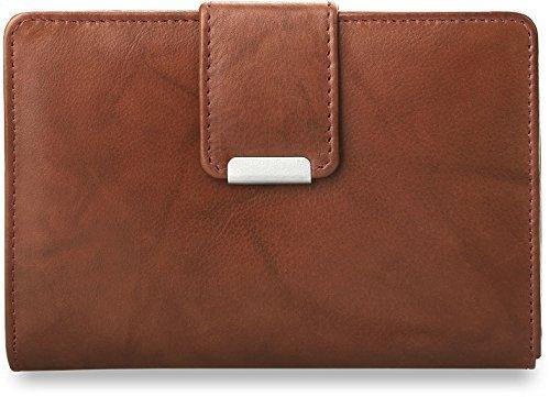 praktisches Damen - Portemonnaie Leder - Geldbörse (rostfarben)