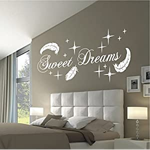HomeTattoo ® WANDTATTOO Wandaufkleber Sweet Dreams Federn Sterne Deko Schlafzimmer Motiv 767 XL ( L x B ) ca. 58 x 140 cm (schwarz 070)