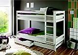 Reboz Hochbett Doppelbett Weiß 90x200 cm Kinderbett massiv Etagenbett teilbar