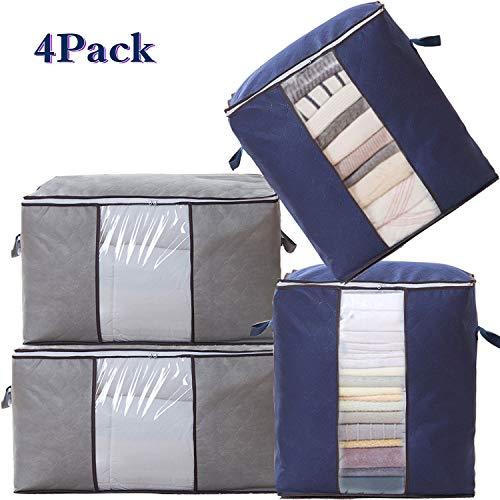 SPECOOL Aufbewahrungstasche,Aufbewahrungsbox Groß Aufbewahrung für Bettdecken und Kissen Kleiderboxen Kleidung, Aufbewahrungsbox mit Verstärktem Griff Reißverschluss aus Dickem Stoff, 4 Stück