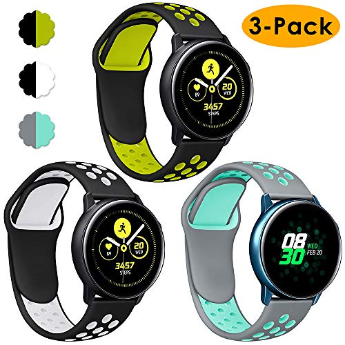 KIMILAR Armbänder Kompatibel mit Samsung Galaxy Watch 42mm / Galaxy Active Armband Silikon,(3 Stück) Sport Bands für Galaxy Active 40mm/Galaxy Watch 42mm/Gear Sport, Garmin Vivoactive 3