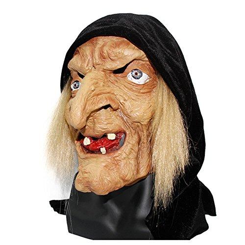 Gruselige gruselige Halloween alte Hexenmaske Latex Schneewittchen Hexe mit Haaren & Kapuze Halloween gruselige Kopf grausige Maskerade Maske (Hexe Aus Schneewittchen)