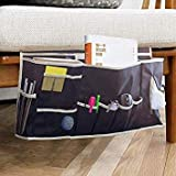 Glin Bedside Caddy 12 Various Pockets Perfect College Dorm Room Bunk Bed Bedside OrganizerDurable Stable Material Bed CaddyÅ'Large Size Holds Your LaptopBooksTabletPhone More (black1)