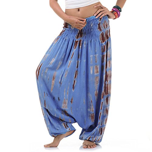 Princess of Asia Batik Hippie Hose Haremshose Aladinhose Pumphose für Damen & Herren 36 38 40 42 Blau