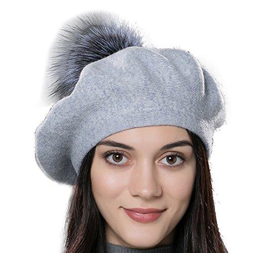 URSFUR Unisex gorra de algodón forma de boina personalizada de lana con  pompón de zorro fino d85bf43716b9