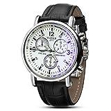 Keepwin Herren Geschäft Uhren Luxus-Mode Kunstleder Quarzuhr Männer Blue Ray Glas Analoge Armbanduhr (Schwarz B)
