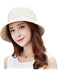 e22ee49d0c7 SiggiHat Womens UPF 50 Sun Hat Crushable Cotton Summer Cloche Bucket  Holiday Hat for Fishing Foldable