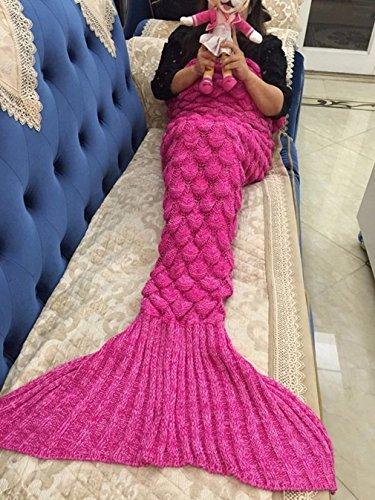 Meerjungfrau Decke, Noza Tec Handgemachte häkeln meerjungfrau flosse decke für Kinder, Mermaid Blanket alle Jahreszeiten Schlafsack