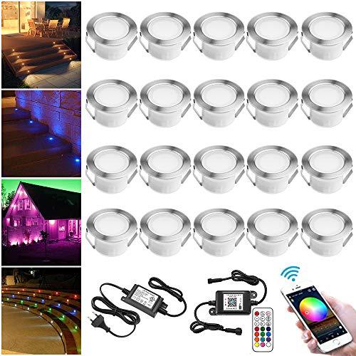 Lampe au Sol Spot Encastrable+Wifi contrôleur-Lumière RGBW étanche IP67 Ø45mm-éclairage pour terrasse, patio, chemin, mur, jardin, décoration, intérieur et extérieur(lot de 20)