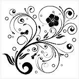 Wallario Magnet für Kühlschrank/Geschirrspüler, magnetisch haftende Folie - 60 x 60 cm, Motiv: Schnörkelmuster in schwarz weiß mit Blumen und Kreisen