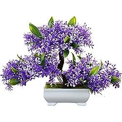 Flikool Mini Künstliche Blumen mit Topf Künstliche Pflanzen mit Pot Gefälschte Künstliche Bäume Simulation Topfpflanzen Bonsai Kunstblumen Kunstpflanzen Ornaments Dekorationen - Blau