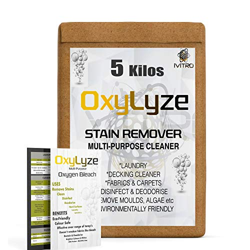 IVITRO OXYGEN BLEACH sodium PERCARBONATE Stain Remover OxyLyze DECKING CLEANER Patios and Decks Multi Use Instructions Remove MOULD & ALGAE LAUNDRY & GENERAL CLEANER - 5 Kilos