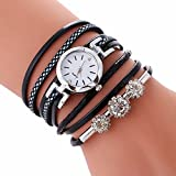 Armbanduhr Damen, LANSKIRT Damen Armband Diamant Kreis Uhr Student Fashion Tisch Armbanduhren (♥ Black)