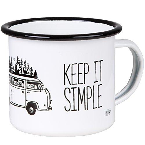 Keep IT Simple & TAKE IT Easy Hochwertiger Emaille Becher mit Bulli Motiv, leicht und bruchsicher, für Camping, Vanlife und Outdoor Activities- von MUGSY.de Camping-becher