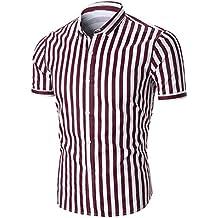 LuckyGirls Camisetas Hombre Originales Rayas Manga Corta Verano Moda Polos Personalidad Casual Remera Slim Lujo Negocio Camisas