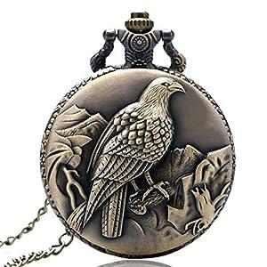MILIYA Vintage Quarz Bronze-Taschenuhr mit Adlermotiv mit Kette Halskette