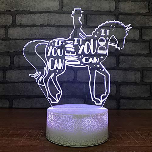 3D Illusion La chica caballo. Lámpara luces noche