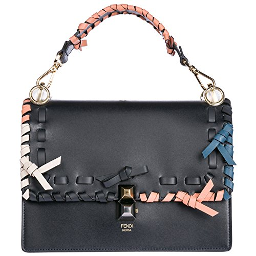 Fendi Leder Handtasche Damen Tasche Bag kan I blu