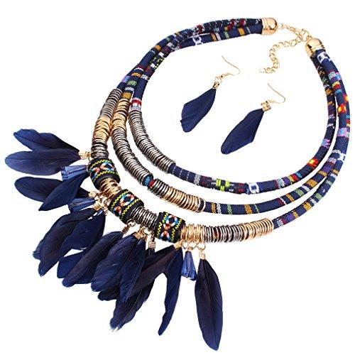 YAZILIND Frauen-Mode-Stoff Harz Feder Anhänger Blau-Kragen Statement Halsketten-Ohrringe
