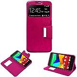 Donkeyphone - Flip Cover Rosa para BQ AQUARIS E5S / E5S Lite / E5S Essential / E5 4G / FNAC 2 5' 4G...