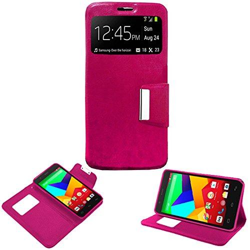 """Donkeyphone - Flip Cover Rosa para BQ AQUARIS E5S / E5S Lite / E5S Essential / E5 4G / FNAC 2 5"""" 4G HD Funda con Ventana, Tapa, Apertura Libro, Cierre con IMAN Y Soporte"""