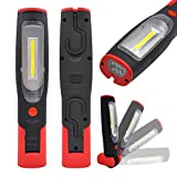 Rechargeable LED Work Light Portable Cordless LED Inspection Lamp Super Bright LED Torch Light- 3W COB LED and 7 LED- Foldable, Magnetic, Dual Hooks- Essential Work Job Tool by Enuotek