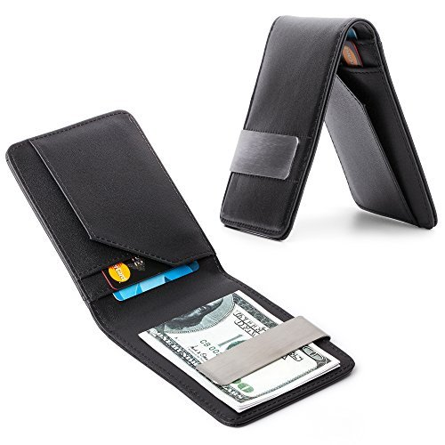 Mens Leather Silver Money Clip Slim Wallets Black ID Credit Card Holder New by unbrand - Compact Credit Card Wallet