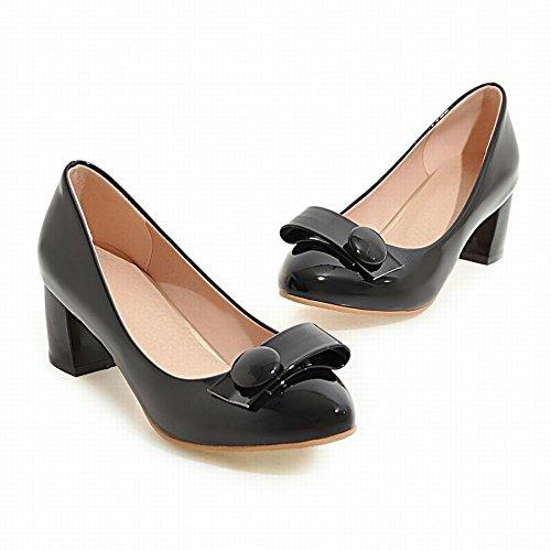 Mee Shoes Damen süß runde chunky heels Pumps Schwarz