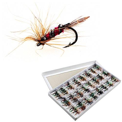 Origlam 96piezas pesca con mosca seca vuela señuelo ganchos Artificial Bugs Pack, trucha cebo para moscas secas pesca ganchos señuelos Kit con caso caja