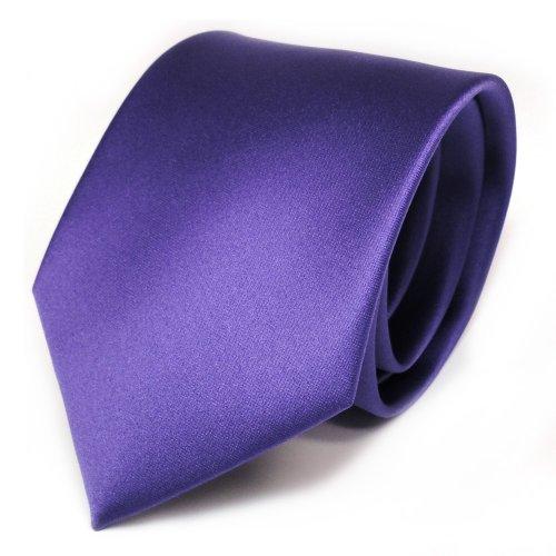 TigerTie Designer Satin Krawatte in lila violett uni Polyester - Tie Schlips Lila Uni