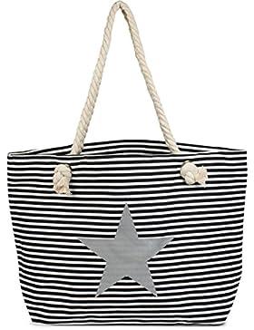 styleBREAKER Strandtasche XXL in Streifen Optik mit Stern Print und Reißverschluss, Shopper, Badetasche, Damen...