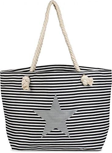stylebreaker-strandtasche-xxl-in-streifen-optik-mit-stern-print-und-reissverschluss-shopper-badetasc
