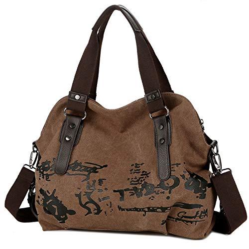 BAGFP Fashion Damentasche Leinwand Große Kapazität Umhängetasche Weibliche Wäsche Große Kapazität Umhängetasche Braun 16.9X4.7X13.7In