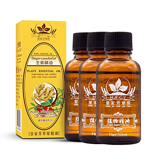 BZLine Lymphdrainage Ingweröl 30 ML, Lymphatic Drainage Ginger Oil für Aromatherapie und als Basisöl für Massageöle (3 Stück)