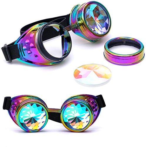 Unisex Vintage Kaleidoscope Gläser Rosennie Bunte Gläser der Feiertagspartei Sonnenbrillen Gotische Retro Steampunk Cosplay Brille Rainbow Glasses Welding Punk Runde Goggles Goggles (Mehrfarbig)