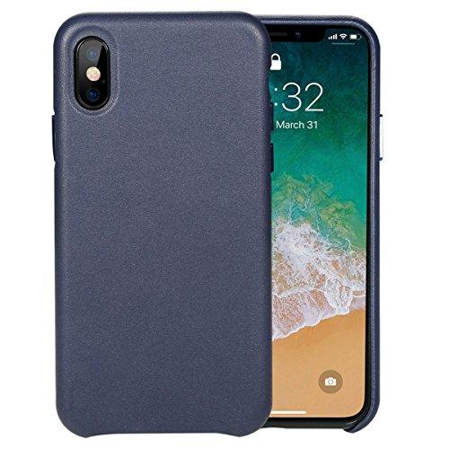 Benks iPhone X Leather Case, iPhone 10 Ledertasche Hülle Luxus Echtleder Backcover Handytasche Leder Hülle Case für Apple iPhone X/iPhone 10 5,8 Zoll (Blau)