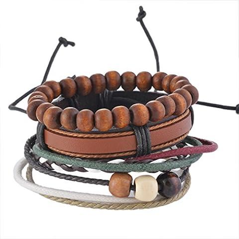 MJARTORIA Femme Homme Bijoux Bracelet de Main Corde Tresse Perle Bois Amitie Cordon Ethnique Bouddha Multirangs Gros Poignet PU