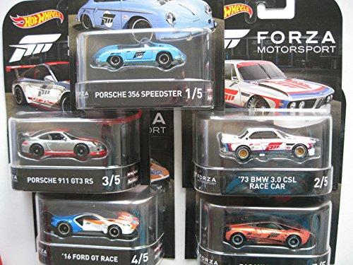 Preisvergleich Produktbild HW Forza Motorsport SET - BMW Porsche Ford Pagani - Hot Wheels Retro Serie 2