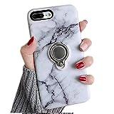 Coque pour iPhone 7 Plus avec Anneau Kickstand, Misstars Ultra Slim Hybride Armour Couche 2 en TPU + PC Dur Étui de Protection Anti-Choc Anti-Rayures pour iPhone 7 Plus / 8 Plus (5,5'), Marbre Blanc