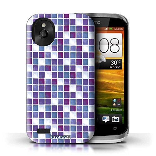 Kobalt® Imprimé Etui / Coque pour HTC Desire X / Vert/Rouge conception / Série Carreau Bain Violet/Blanc