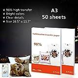 Lot de 50 feuilles de papier transfert par sublimation pour imprimante jet d'encre Epson, HP, Canon, Ricoh, SawGrass Format A3 41,9 x 29,7 cm