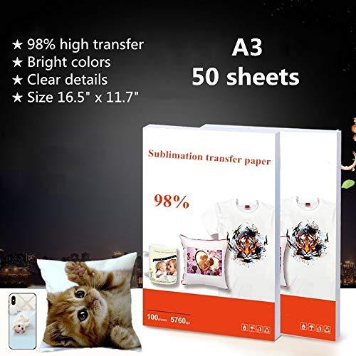 Carta per trasferimento a sublimazione termica, formato A3, 41,9 x 29,7 cm, per stampanti a getto d'inchiostro Epson, HP, Canon, Ricoh, SawGrass - 50 pezzi