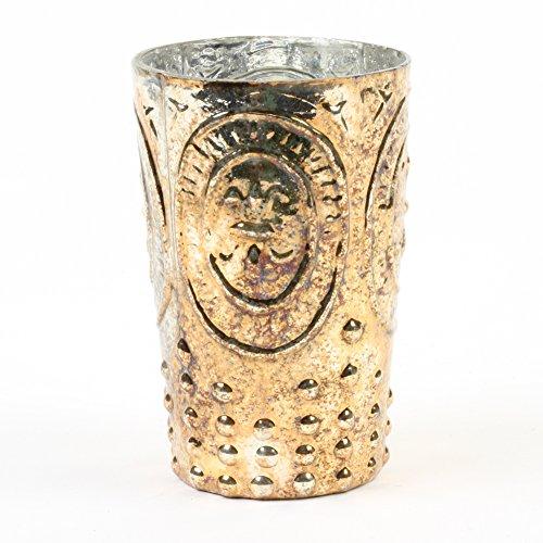 Koyal machen Burnt Gold Fleur De LIS Vase, Fleur de Lys Bud Vase Home Decor, Vase Mittelpunkt für Hochzeit, glas, gold, 4.5